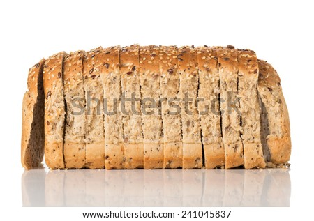 Seeded Wholegrain Bread Slices Isolated on a White Background