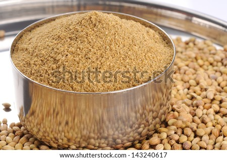 seeds and powder of coriander spice