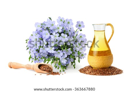 seeds, flax oil and flowers isolated on white background - stock photo