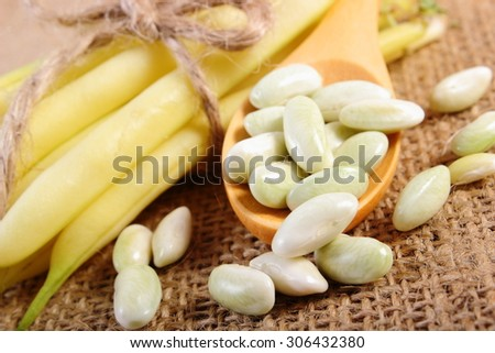 Seeds of beans on wooden spoon and stack of beans tied with string lying on jute canvas, healthy food and nutrition - stock photo