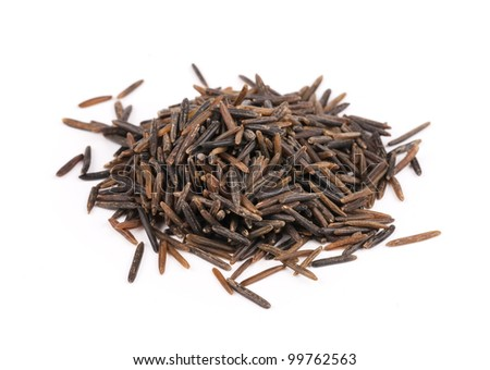 Seeds of wild rice on white background