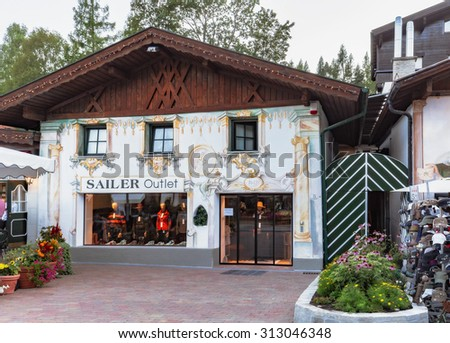 SEEFELD, AUSTRIA - AUGUST 27 2015: Picturesque Tourist Olympia City Seefeld in Autria on a warm late summer evening