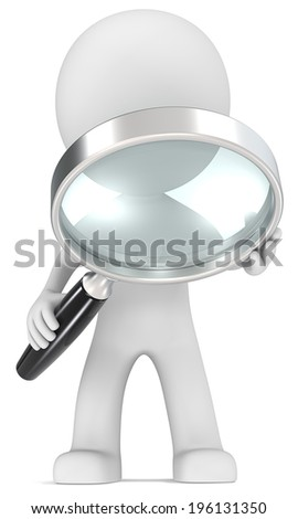 Seek. Dude with magnifying glass.  - stock photo