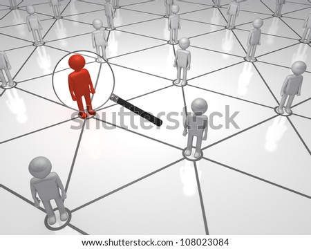 Seeking the Man on the Net 3D magnifying Glass man in a Network - stock photo