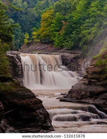 Seen here is Lower Falls at Letchworth State Park, New York. - stock photo