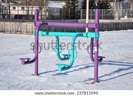 Seesaw in winter - stock photo