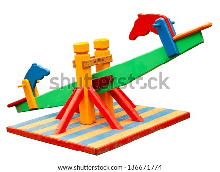 Seesaw isolated on white. Clipping path included. - stock photo