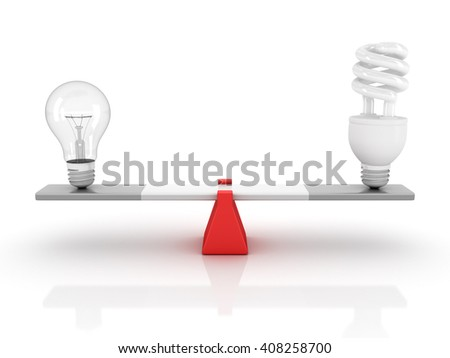 Seesaw with Light Bulbs - Balance Concept - High Quality 3D Render   - stock photo