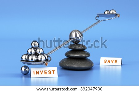 Seesaw with metal balls over blue background. Concept of investment versus saving money  - stock photo