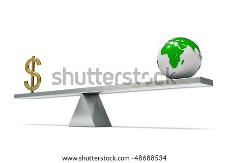 seesaw with the earth and dollar sign, isolated on white background - stock photo