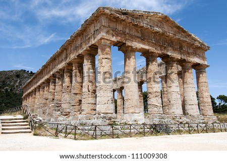 Segesta's Greek Temple. Ancient architecture in Italy, Sicily