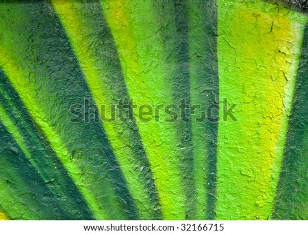 segment of brightly painted wall - stock photo