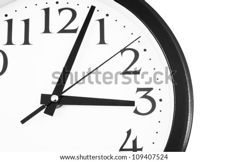 Segment of classic clock isolated on white - stock photo