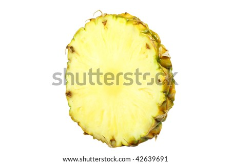segment of pineapple under the white background
