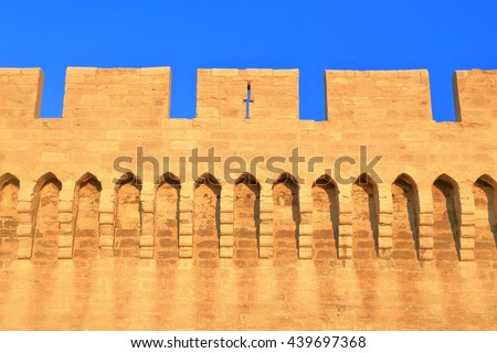 Segment of the medieval wall surrounding the old town of Avignon, Provence, France - stock photo