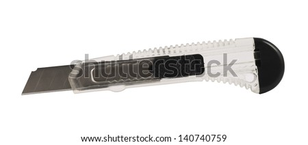 Segmented or snap-off blade utility box cutter knife with the razor taken out, isolated over white background
