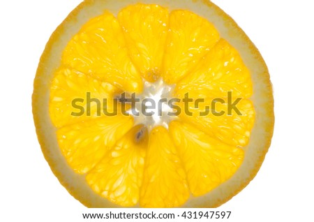 segments of orange are isolated on a white background