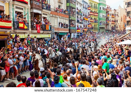SEGORBE, SPAIN - SEPTEMBER 14: Festival of bulls and horses in Segorbe, Spain, September 14, 2013. Annually the Holiday attracts more than 200 000 people.