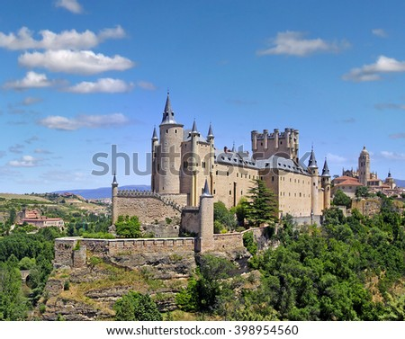 Segovia Alcazar, Castile and Leon, Spain, World Heritage Site by UNESCO - stock photo