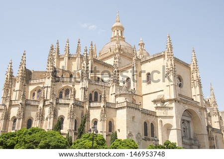 Segovia Cathedral is a Roman Catholic religious church in Segovia, Spain, it is dedicated to the Virgin Mary - stock photo