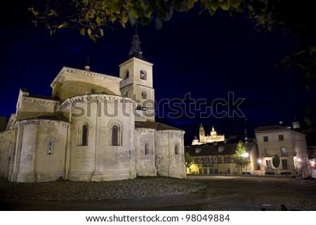 Segovia church with night illumination - stock photo