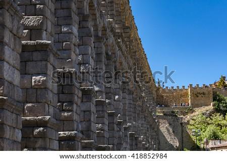 SEGOVIA - MAY 16, 2015: Views of the Aqueduct of Segovia in Segovia, Spain on May 16, 2015 - stock photo