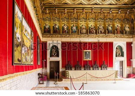 SEGOVIA, SPAIN - APR 5, 2014: Interior of the Alcazar of Segovia (Segovia Castle), a stone fortification, Segovia, Spain. It's one of the inspirations for Walt Disney's Cinderella Castle. - stock photo