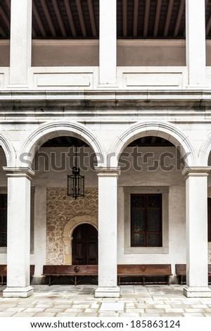 SEGOVIA, SPAIN - APR 5, 2014: Interior yard of the Alcazar of Segovia (Segovia Castle), a stone fortification, Segovia, Spain. It's one of the inspirations for Walt Disney's Cinderella Castle. - stock photo