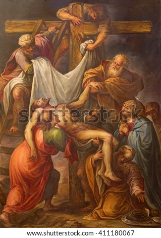 "SEGOVIA, SPAIN, APRIL - 14, 2016: The Deposition of the Cross painting by Francisco Camilo (17. cent.) in chapel of ""Cristo Yacente"" in Cathedral  Nuestra Senora de la Asuncion."
