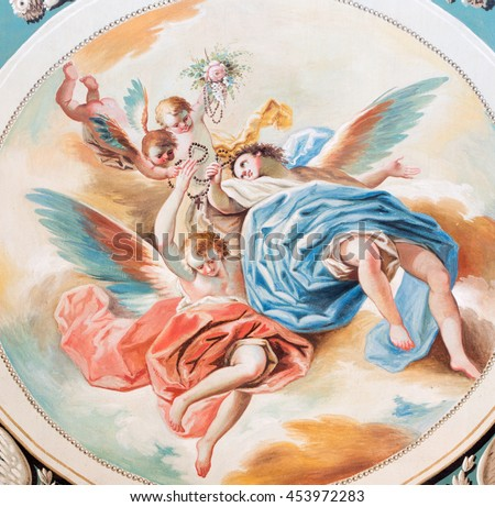 SEGOVIA, SPAIN, APRIL - 14, 2016: The fresco of angels with the rosary by Don Ramon Bayeu (1789) in Cathedral of Our Lady of Assumption and Chapel Our Lady of Rosary.