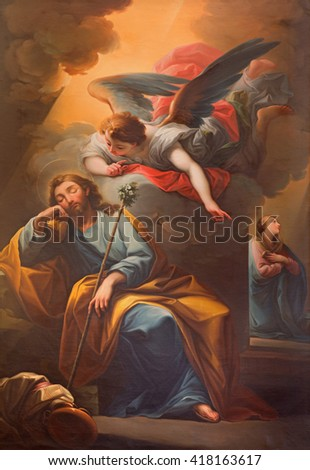 SEGOVIA, SPAIN, APRIL - 14, 2016: The vision of angel to St. Jospeh in the dream painting  in Catedral by unknown artist of 19. cent.