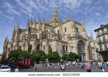 SEGOVIA/SPAIN-AUGUST 12: View of the Cathedral of Segovia built between 1525 and 1577 in a late Gothic style as in august 12th 2015 in Segovia, Spain. - stock photo