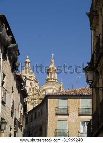 Segovia (Spain), city that has an important heritage of Romanesque art. Cathedral view