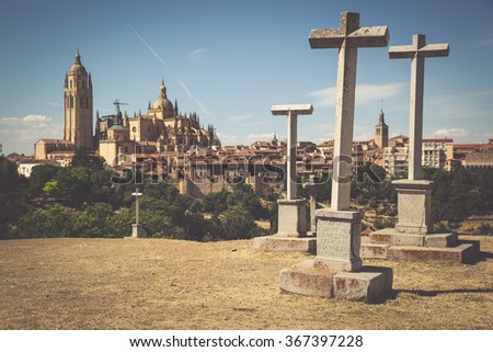 Segovia, Spain. Panoramic view of the historic city of Segovia skyline with Catedral de Santa Maria de Segovia, Castilla y Leon. - stock photo