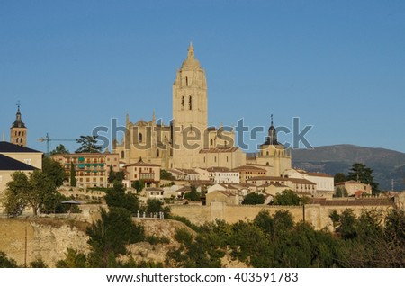 Segovia, Spain. Panoramic view of the historic city of Segovia skyline with Catedral de Santa Maria de Segovia, Castilla y Leon.