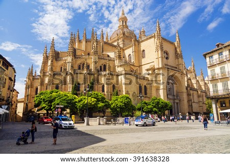 SEGOVIA, SPAIN - SEPTEMBER 6: A cathedral of Segovia â?? the Catholic cathedral located at Mayor Square in Segovia on September 6, 2015 - stock photo
