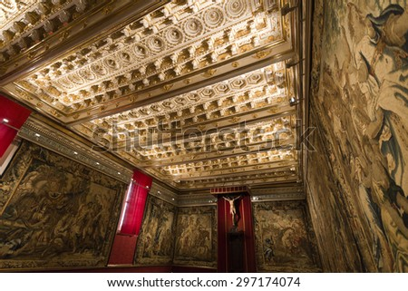 SEGOVIA, SPAIN - SEPTEMBER 14, 2014: View of the ceiling of a chapel inside the Cathedral of Segovia, Spain. - stock photo