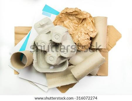 Segregated paper garbage  - stock photo
