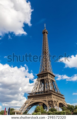 Seine and Eiffel tower in a beautiful summer day in Paris