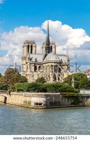 Seine and Notre Dame de Paris is the one of the most famous symbols of Paris - stock photo