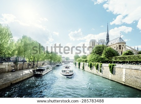 Seine and Notre Dame de Paris, Paris, France - stock photo