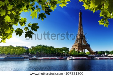Seine in Paris with Eiffel tower in sunrise time - stock photo