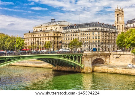 Seine river and the Notre Dame in the background, Paris, France - stock photo