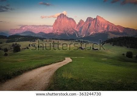 Seiser Alm with Langkofel Group after sunset, South Tyrol, Italy