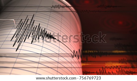 Seismograph and Earthquake - 3D Rendering