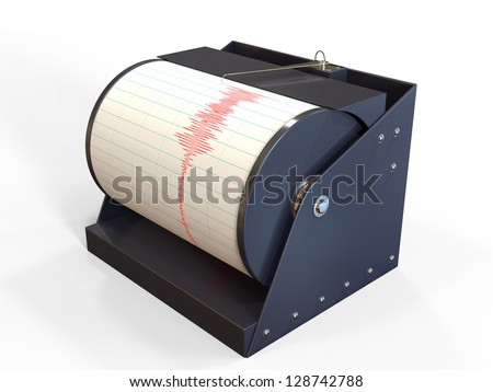 Seismograph instrument recording ground motion during earthquake - stock photo