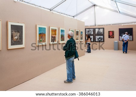 Seixal, Portugal - September 5, 2015: Painting exhibition at the Festa do Avante Festival. Largest and most important Political-Cultural event in Portugal. Organized by the Portuguese Communist Party.