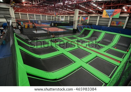 Selangor, Malaysia-April 2, 2015: Jump Street Trampoline Parks are an amazing urban playground for adults and children.First large scale Indoor Trampoline Park in Asia and one of the world's largest.