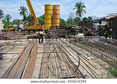 SELANGOR, MALAYSIA -FEBRUARY 04, 2015: Bore pile reinforcement bars fabricated at construction site in Selangor, Malaysia.