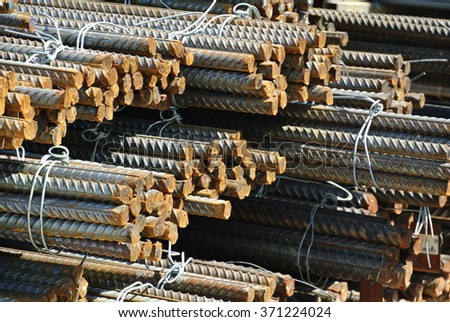 SELANGOR, MALAYSIA FEBRUARY 10, 2015: Hot rolled deformed steel bars a.k.a. steel reinforcement bar used at construction site as the reinforcement bar for reinforcement concrete.  - stock photo